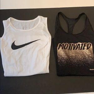 2 workout tank tops, Nike is kids Large,BLACK AXS